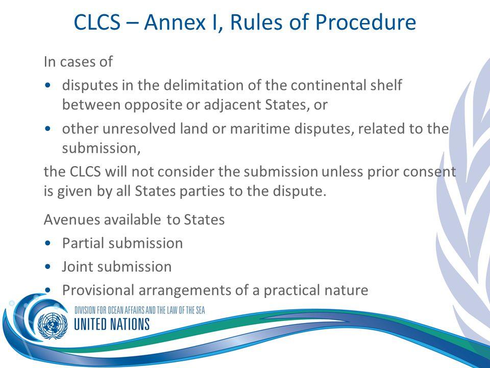CLCS – Annex I, Rules of Procedure