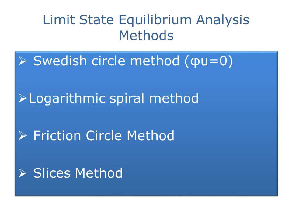Limit State Equilibrium Analysis Methods