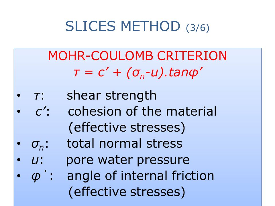MOHR-COULOMB CRITERION