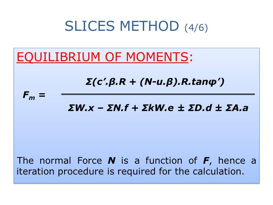 Σ(c'.β.R + (N-u.β).R.tanφ') ΣW.x – ΣN.f + ΣkW.e ± ΣD.d ± ΣA.a