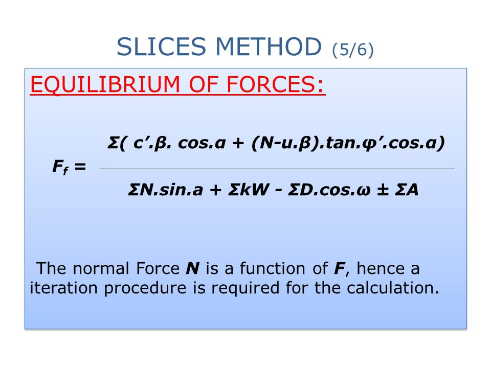 Σ( c'.β. cos.α + (Ν-u.β).tan.φ'.cos.α) ΣΝ.sin.a + ΣkW - ΣD.cos.ω ± ΣΑ