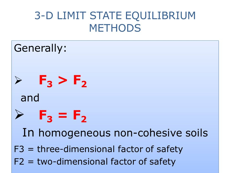 3-D LIMIT STATE EQUILIBRIUM METHODS