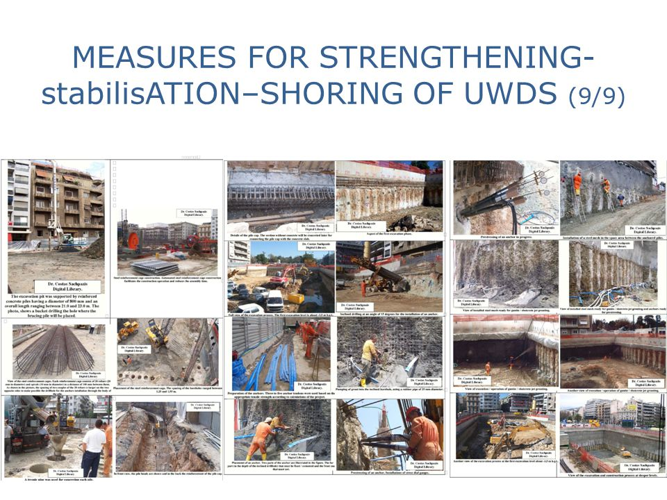 MEASURES FOR STRENGTHENING-stabilisATION–SHORING OF UWDS (9/9)