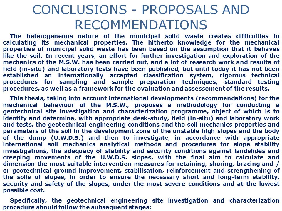 CONCLUSIONS - PROPOSALS AND RECOMMENDATIONS