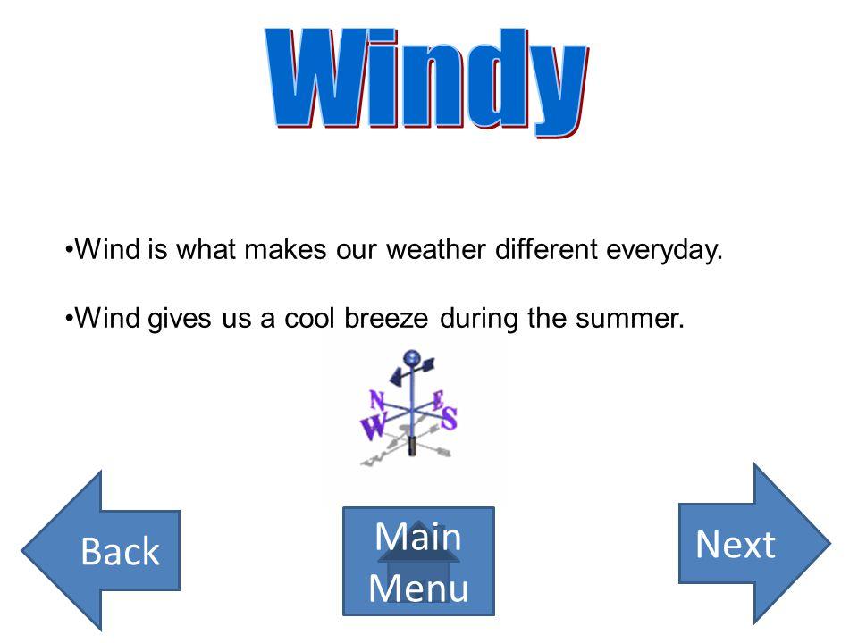 Windy Next Back Main Menu