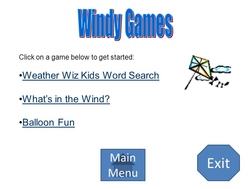 Exit Windy Games Main Menu Weather Wiz Kids Word Search