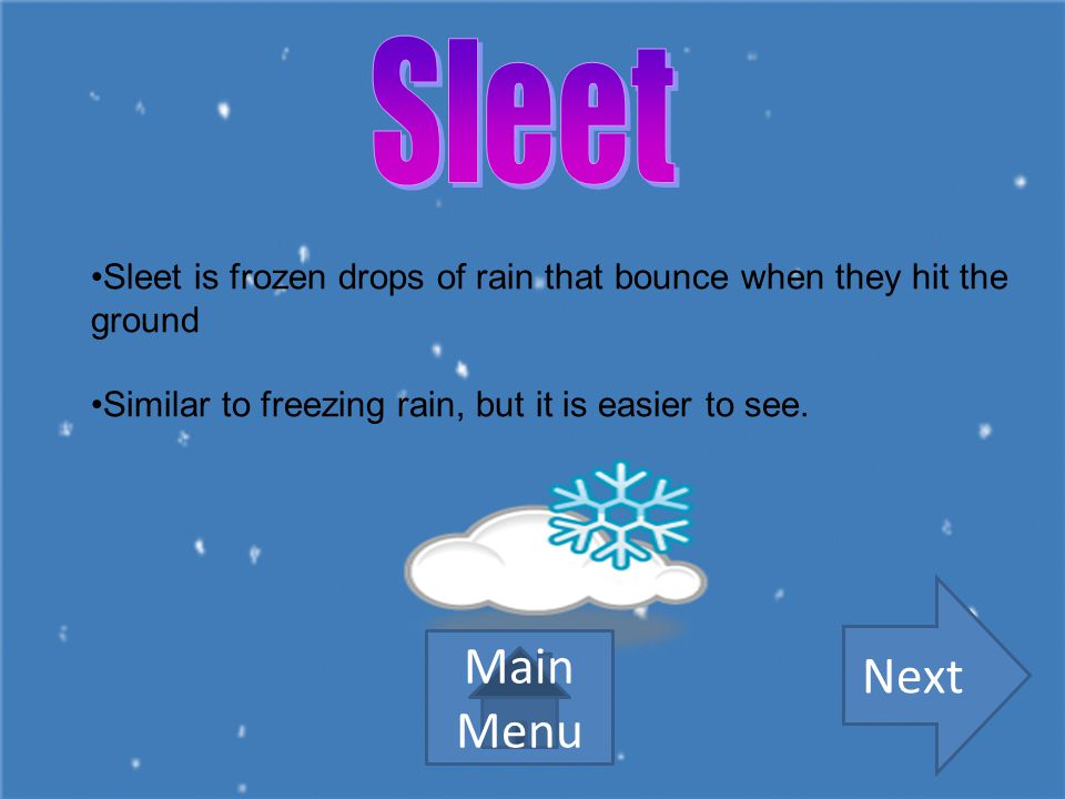 Sleet Sleet is frozen drops of rain that bounce when they hit the ground. Similar to freezing rain, but it is easier to see.