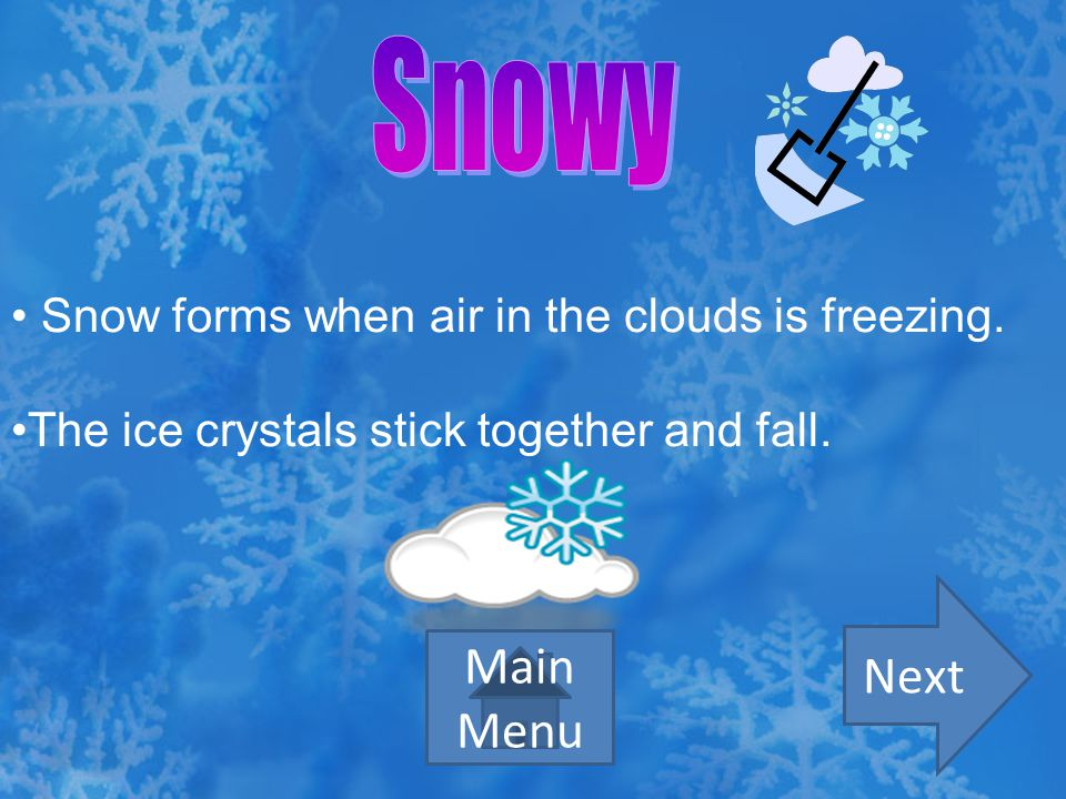 Snowy Next Main Menu Snow forms when air in the clouds is freezing.