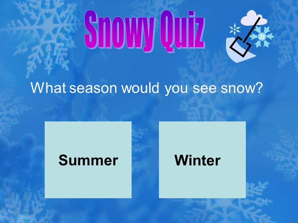 Snowy Quiz What season would you see snow Summer Winter