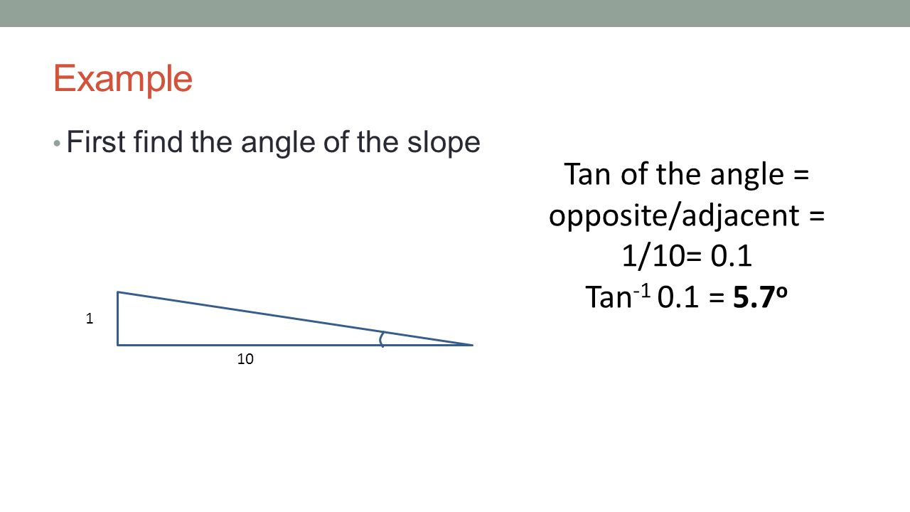 Tan of the angle = opposite/adjacent = 1/10= 0.1