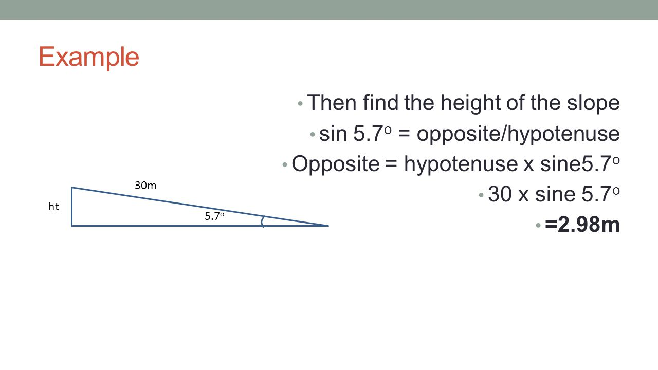 Example Then find the height of the slope