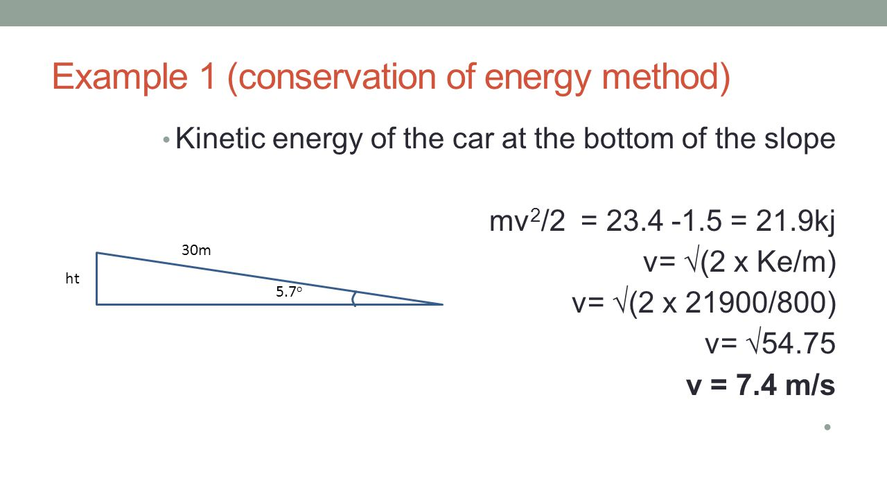 Example 1 (conservation of energy method)