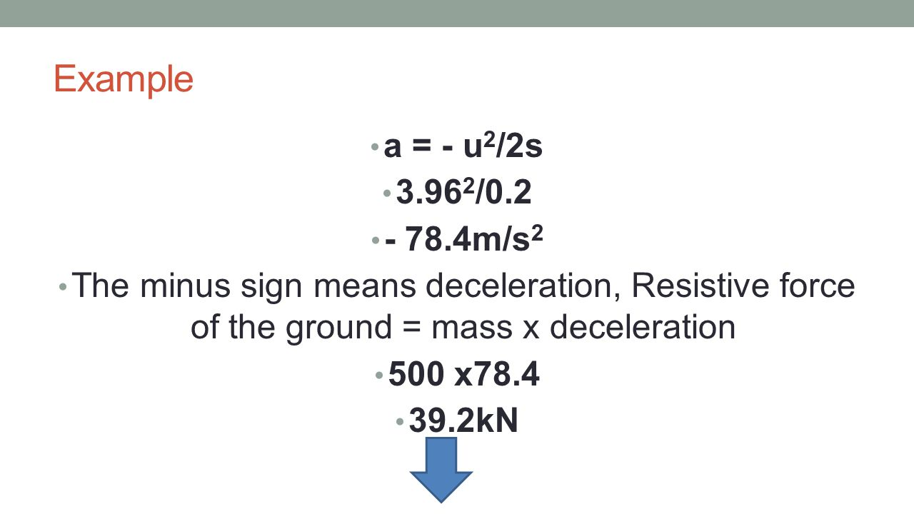 Example a = - u2/2s. 3.962/0.2. - 78.4m/s2. The minus sign means deceleration, Resistive force of the ground = mass x deceleration.