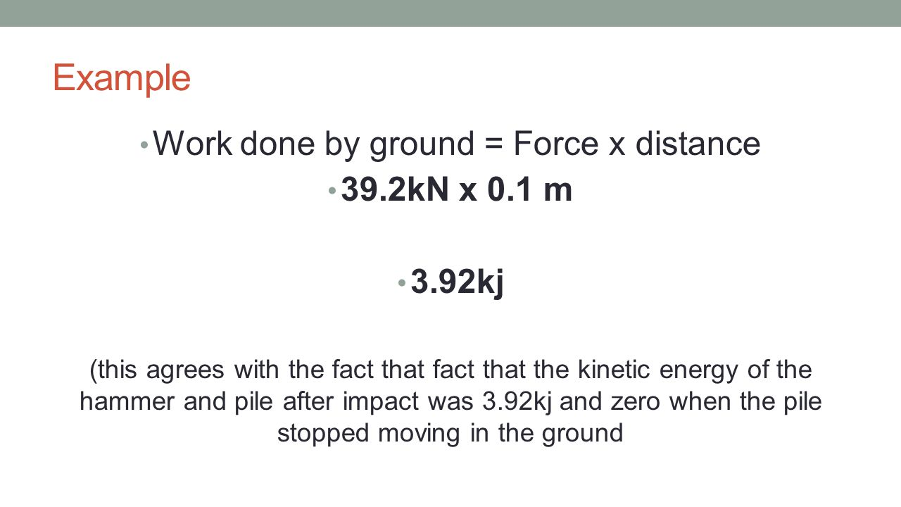 Work done by ground = Force x distance