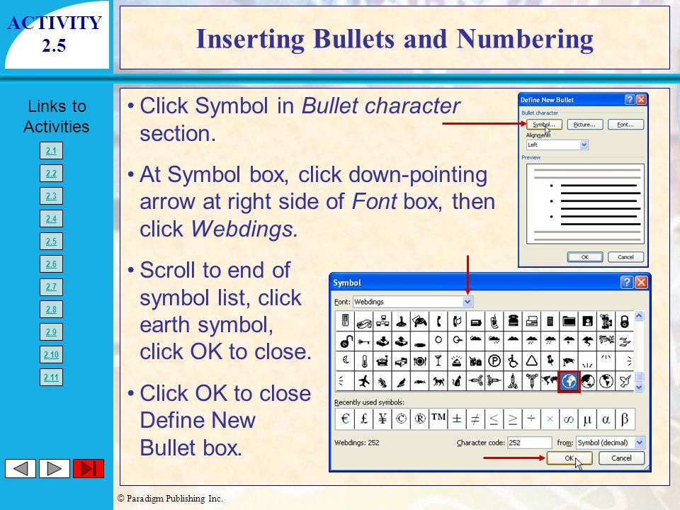 Inserting Bullets and Numbering