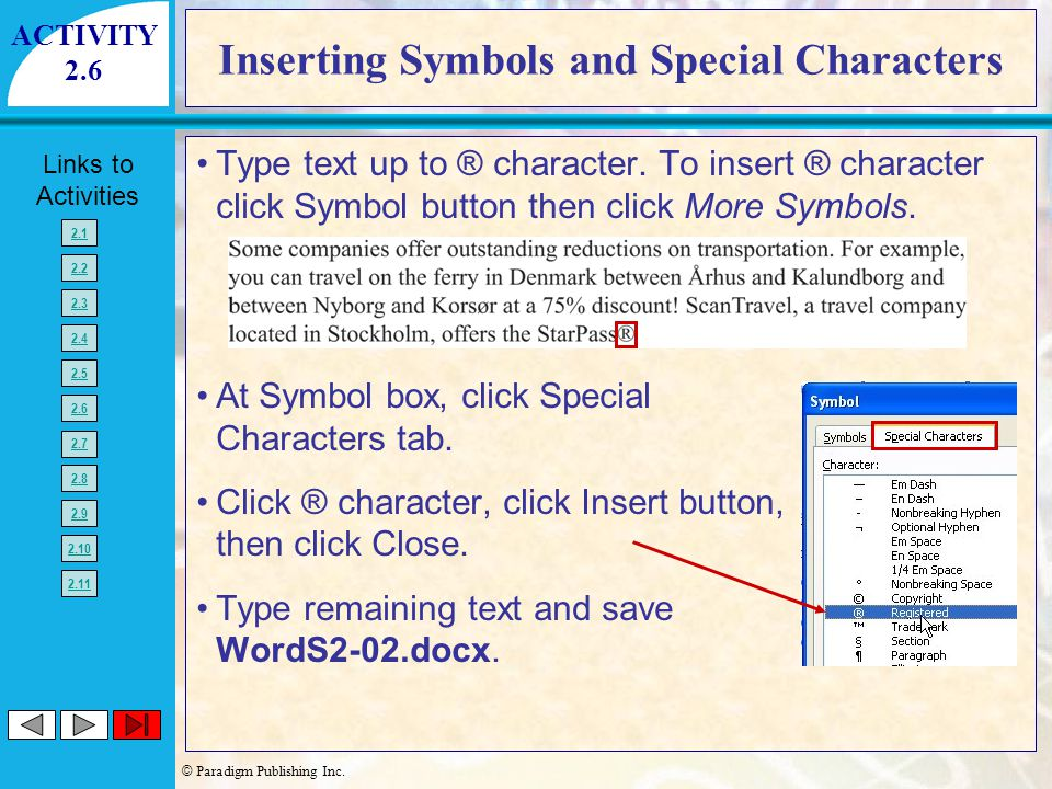 Inserting Symbols and Special Characters
