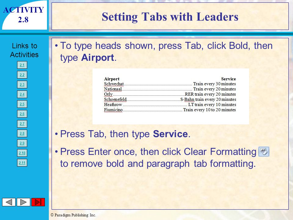Setting Tabs with Leaders