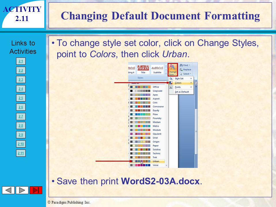 Changing Default Document Formatting