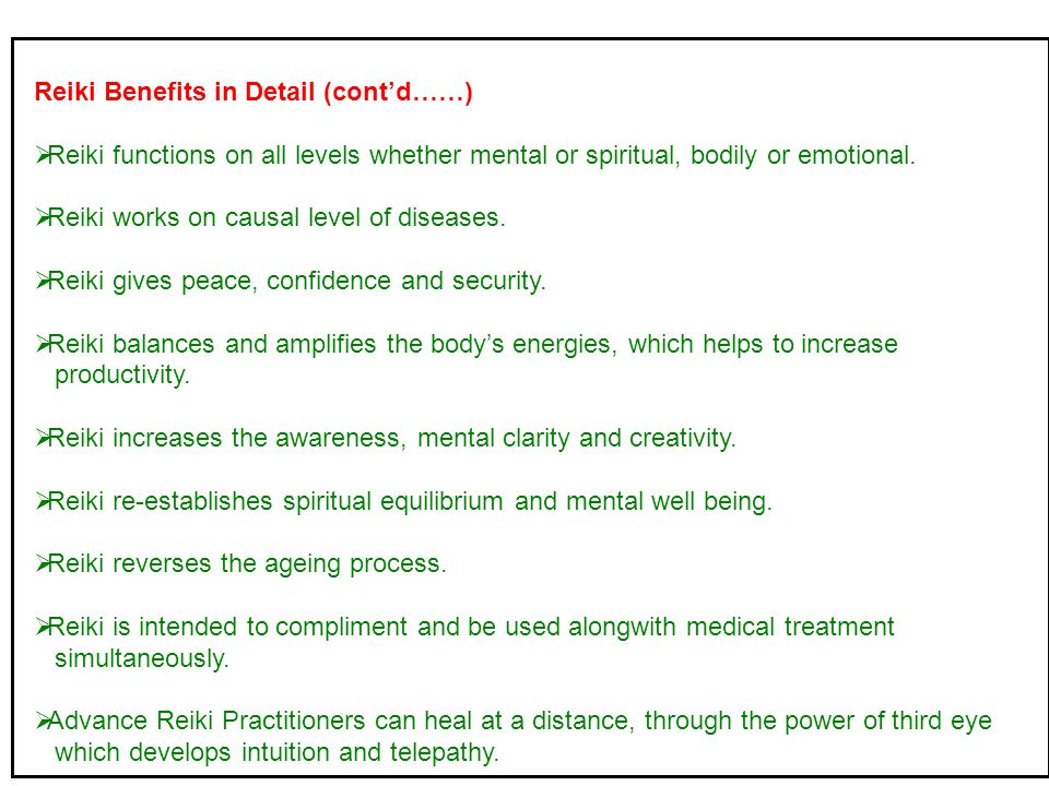 Reiki Benefits in Detail (cont'd……)