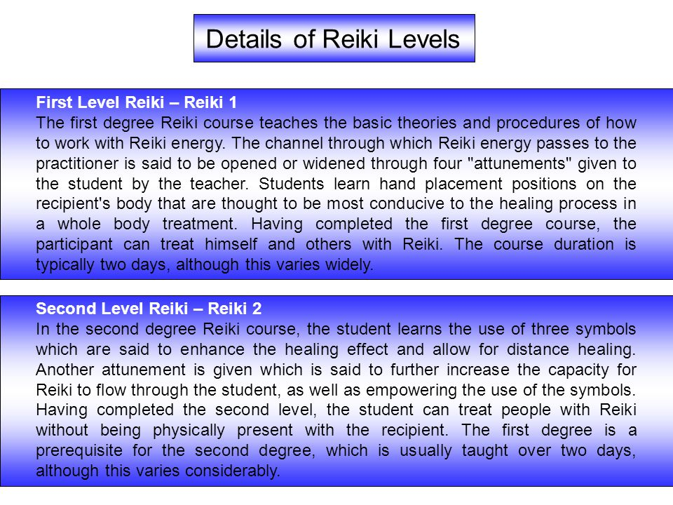Details of Reiki Levels