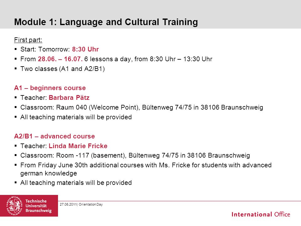 Module 1: Language and Cultural Training