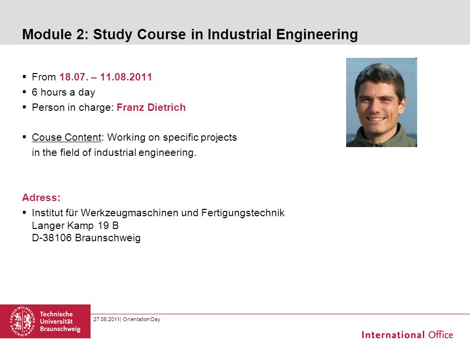 Module 2: Study Course in Industrial Engineering