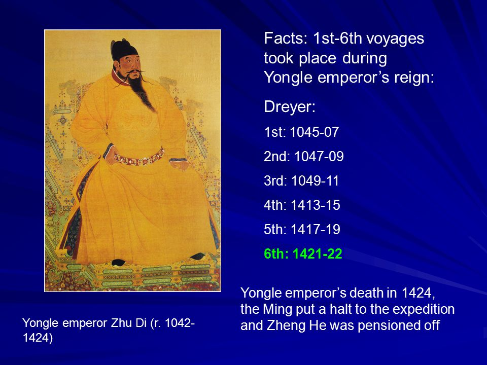 Facts: 1st-6th voyages took place during Yongle emperor's reign: