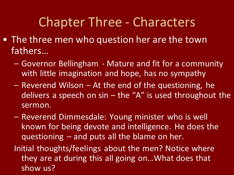 Chapter Three - Characters