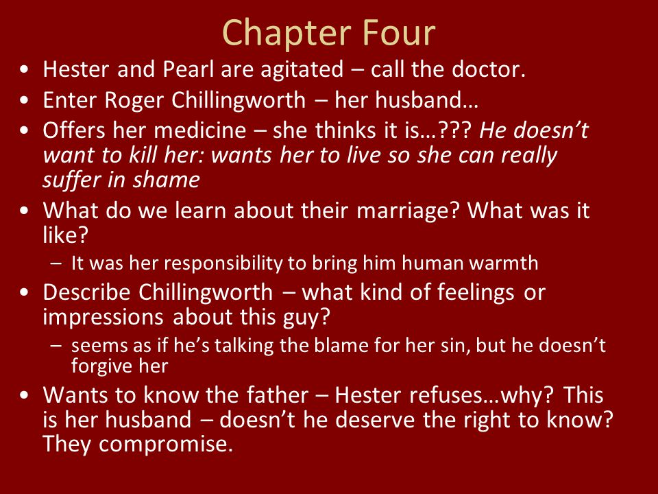 Chapter Four Hester and Pearl are agitated – call the doctor.