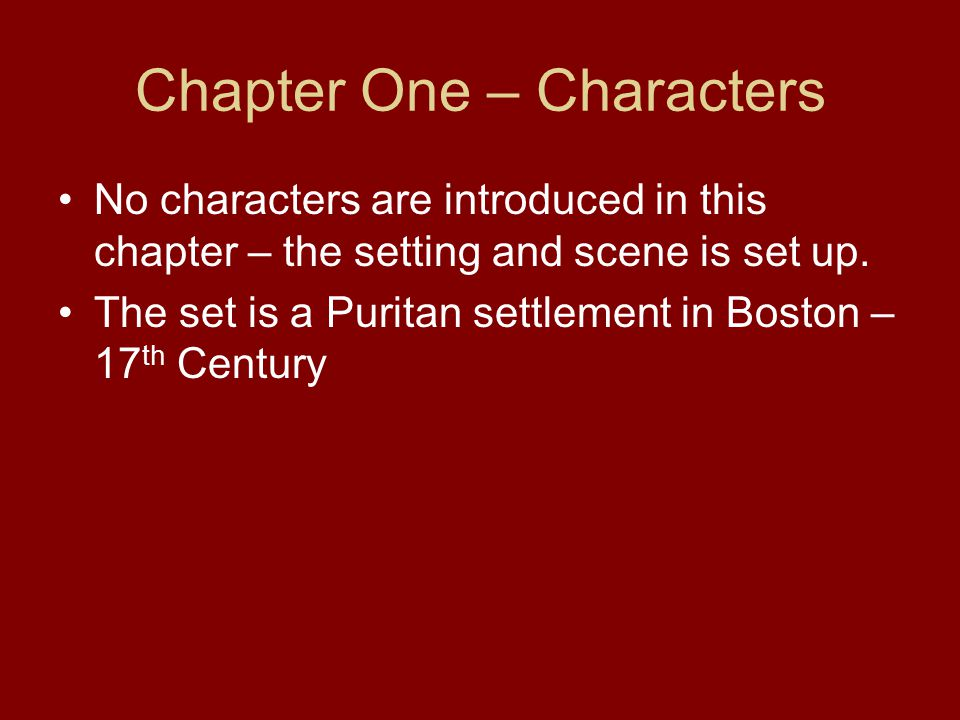 Chapter One – Characters