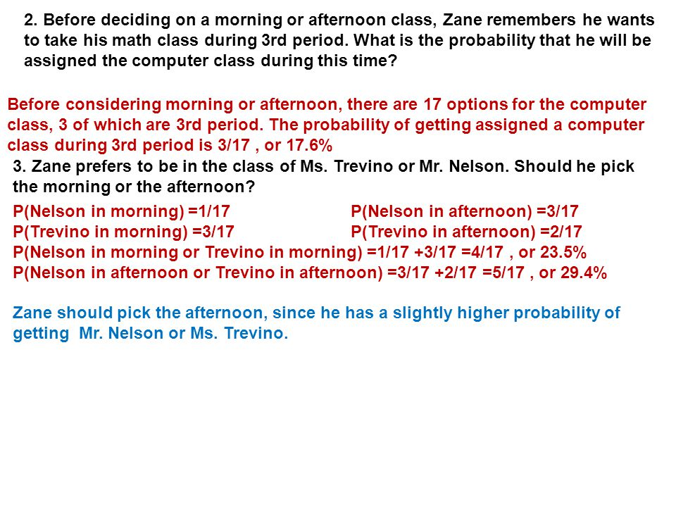 2. Before deciding on a morning or afternoon class, Zane remembers he wants to take his math class during 3rd period. What is the probability that he will be assigned the computer class during this time