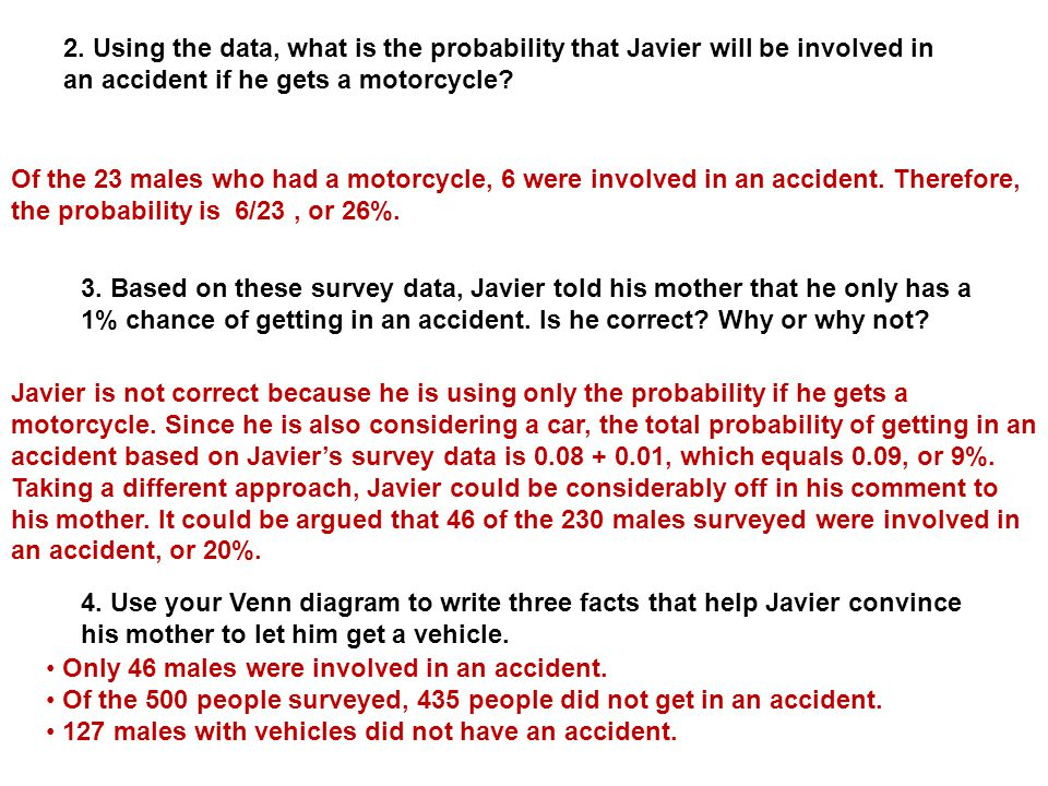 2. Using the data, what is the probability that Javier will be involved in an accident if he gets a motorcycle
