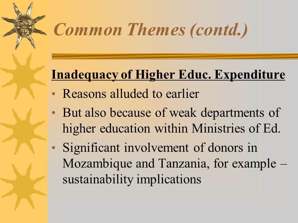Common Themes (contd.) Inadequacy of Higher Educ. Expenditure