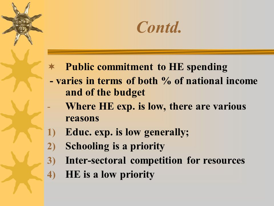 Contd. Public commitment to HE spending