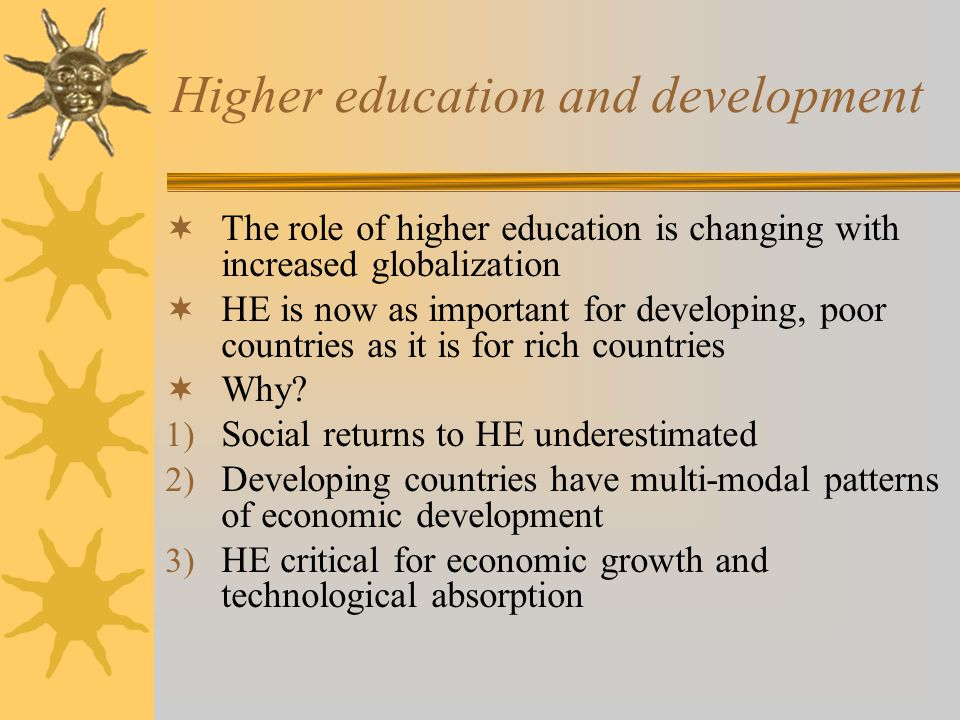 Higher education and development