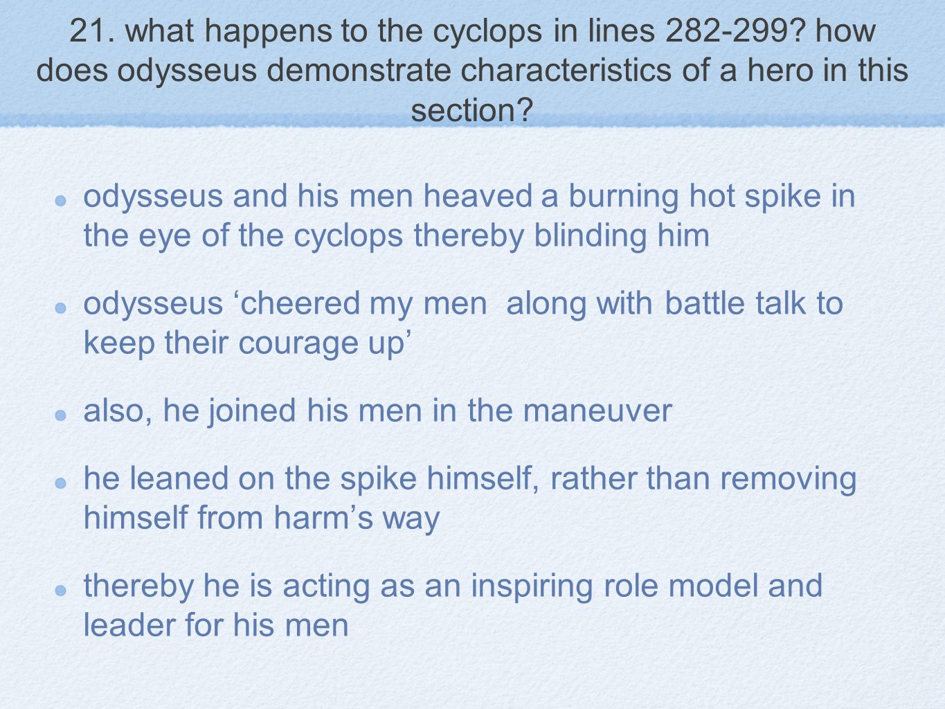21. what happens to the cyclops in lines 282-299