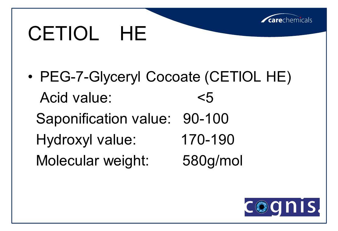 CETIOL HE PEG-7-Glyceryl Cocoate (CETIOL HE) Acid value: <5