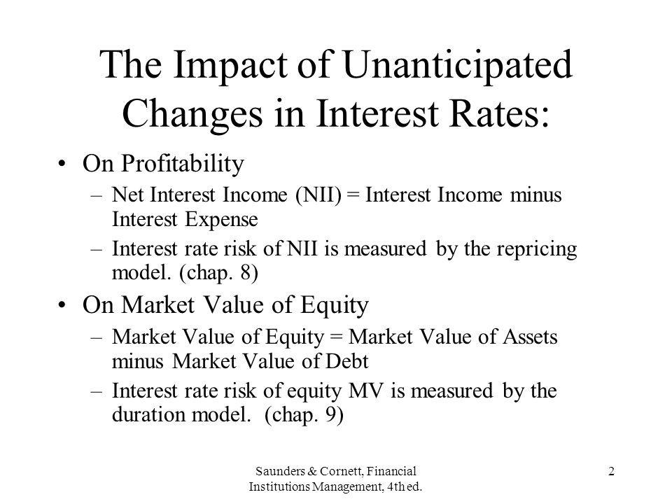 The Impact of Unanticipated Changes in Interest Rates: