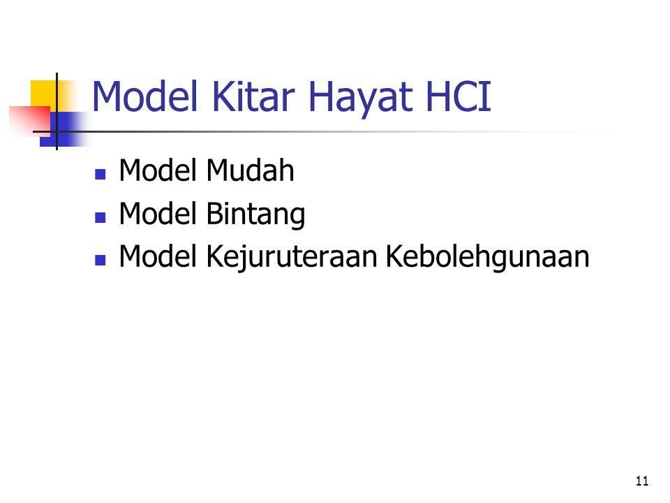 Model Kitar Hayat HCI Model Mudah Model Bintang