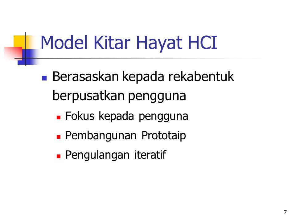 Model Kitar Hayat HCI Berasaskan kepada rekabentuk berpusatkan pengguna. Fokus kepada pengguna. Pembangunan Prototaip.