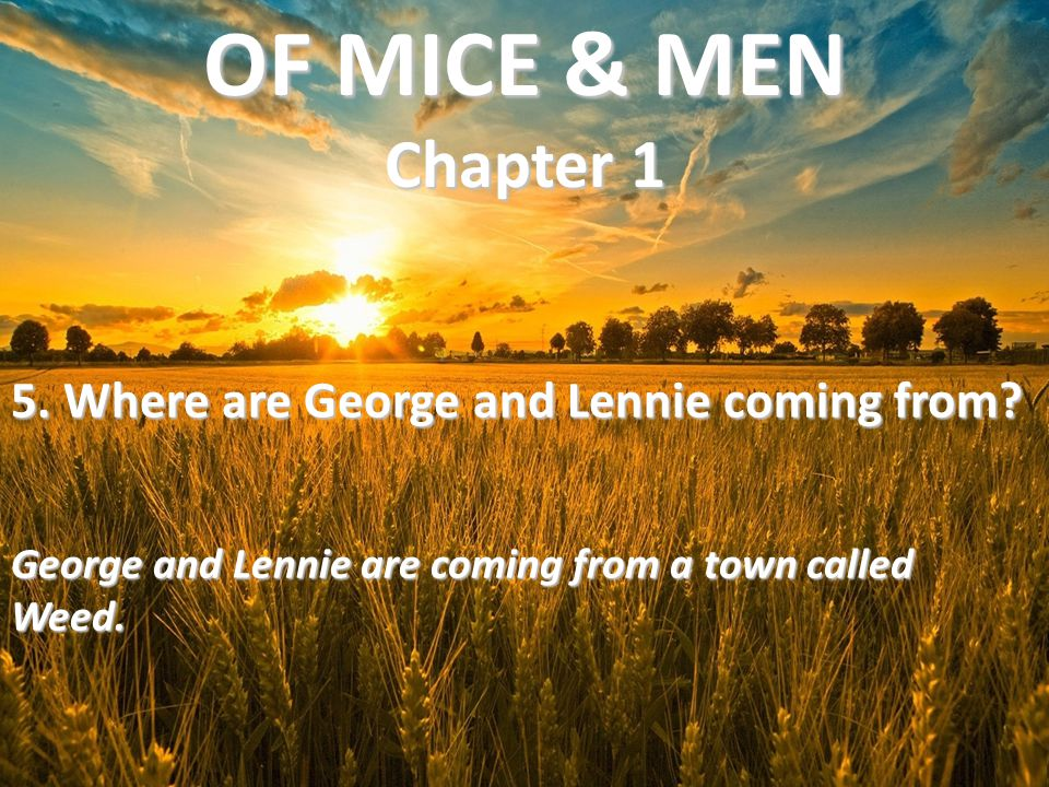 OF MICE & MEN Chapter 1 5. Where are George and Lennie coming from