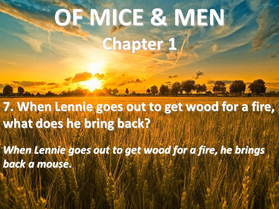 OF MICE & MEN Chapter 1 7. When Lennie goes out to get wood for a fire, what does he bring back