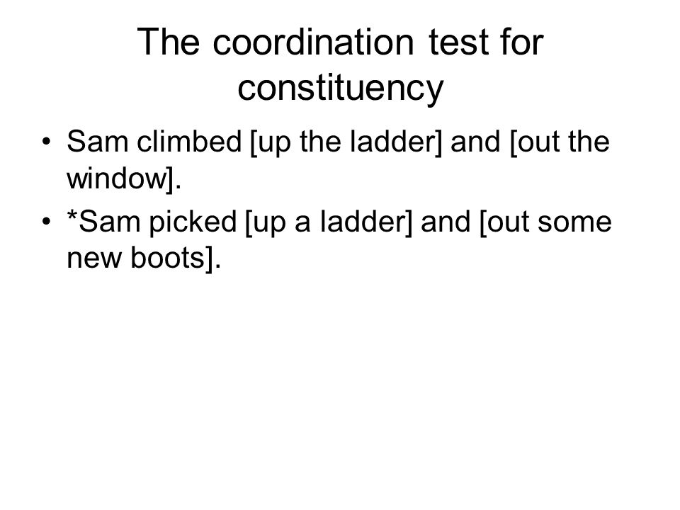 The coordination test for constituency