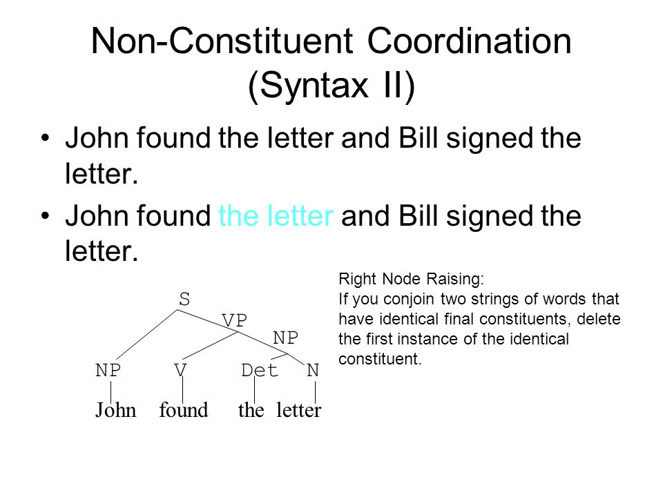 Non-Constituent Coordination (Syntax II)