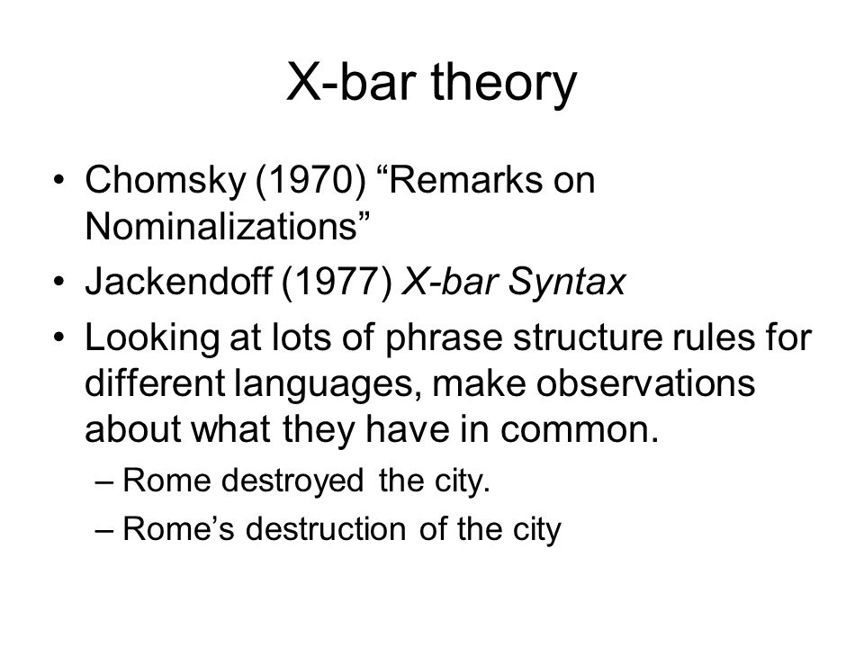 X-bar theory Chomsky (1970) Remarks on Nominalizations