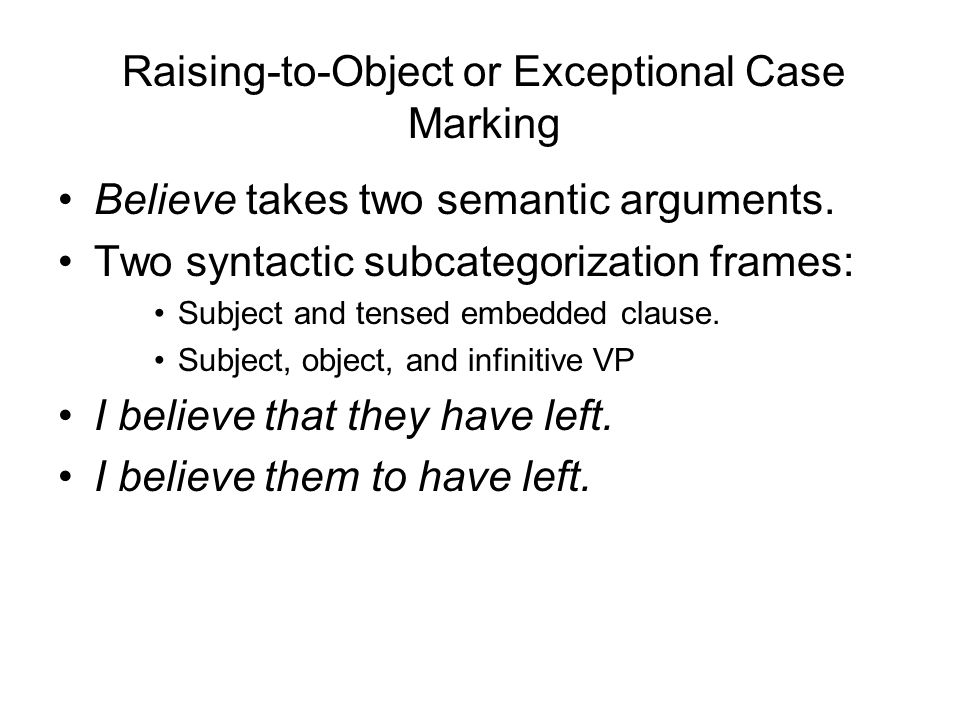 Raising-to-Object or Exceptional Case Marking
