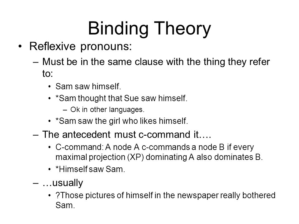 Binding Theory Reflexive pronouns: