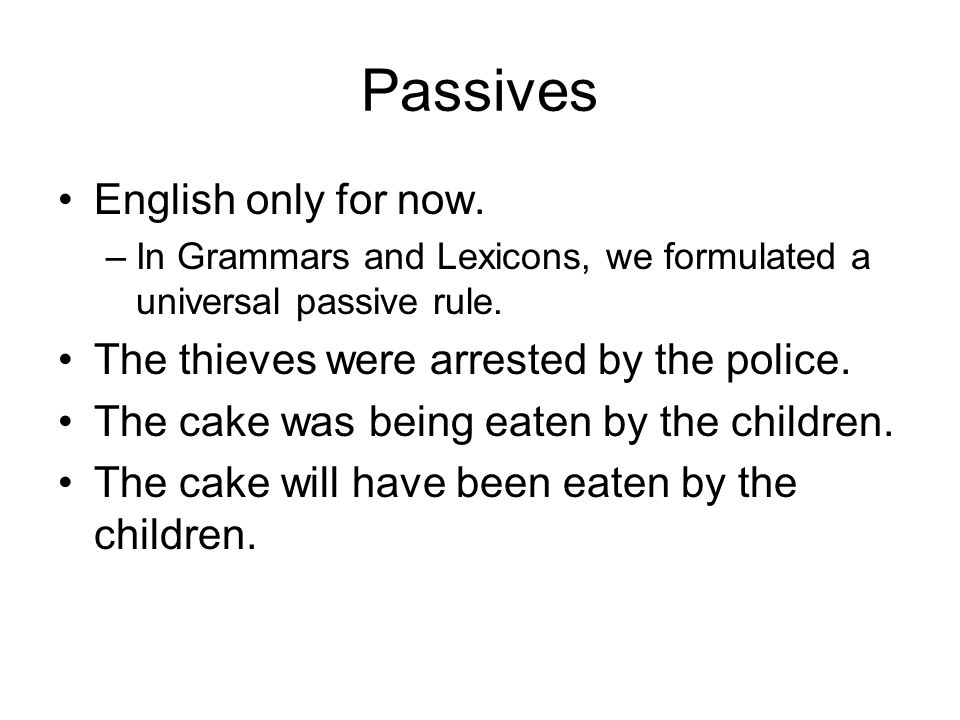 Passives English only for now.