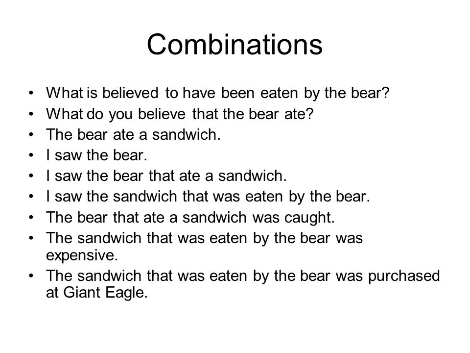 Combinations What is believed to have been eaten by the bear