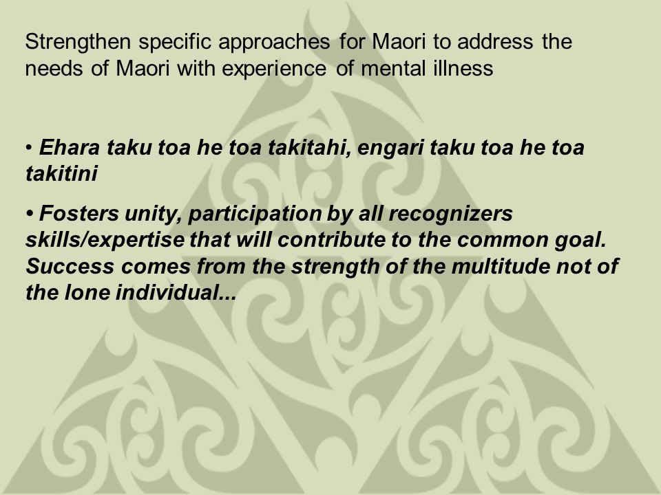 Strengthen specific approaches for Maori to address the needs of Maori with experience of mental illness